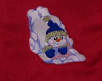 Snowman Sledding Christmas Stocking