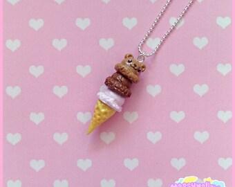 Bear ice-cream necklace cute and kawaii