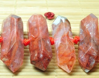 26 pcs of Quartz faceted point beads in 10-13mm x 30-45mm