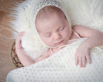 Newborn knit mohair bonnet