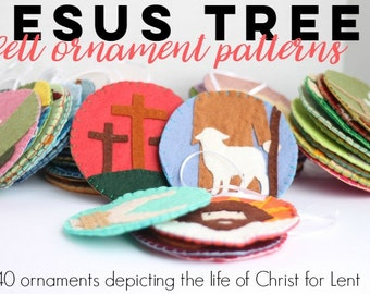 Jesus Tree Felt Ornament Pattern//Lenten Scripture Activity
