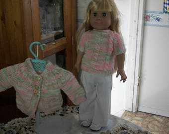 """H andknit 2 piece sweaterset and pants for 18"""" AG Doll or MAPLELEA,SPRINGFIELD etc."""