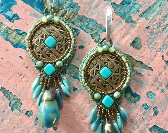 Turquoise Tusayan Bowl Design Earrings