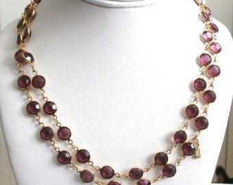 """Signed Swarovski Necklace 36"""" Gold Plated Bezel Set Amethyst Crystals Swan Logo (D)"""