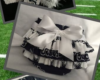 Dallas Cowboys Ruffle Diaper Cover with Matching Bow on Headband