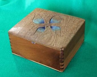 "Wooden Keepsake Box, Re-Purposed Cigar Box w/ Hand-Carved Top, ""Blue Resurrection"", OOAK  (Box No. 19)"