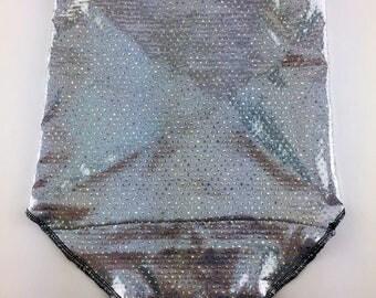 Holographic Silver Spandex Bandana w/ Holo Rainbow Dot pattern and Hidden Stash Pocket