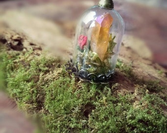 Bell Jar pendant Aqua Aura in to the woods