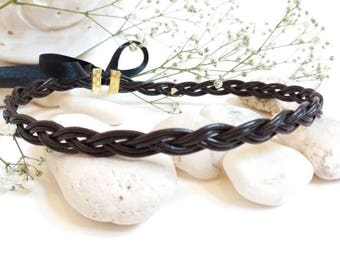 Leather plaited choker style necklace