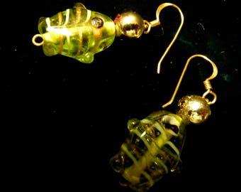 Pierced dangling earrings - nice lime green