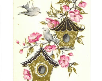 Vintage UNUSED Get Well Greeting Card Birds Birdhouses Dogwood Flowers Gold Accents