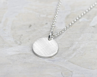 Round pendant with silver chain necklace for ladies, pea chain, dot, point, point pendant, 925 Silver, 45 cm