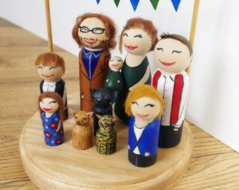 Custom Family Portrait Party Unique Birthday Cake Topper Ornament Cute Peg doll painted Oak Plinth