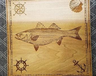Striped Bass Wall Hanging Engraved on Wood, striper, nautical, fish art, bass, fishing artwork