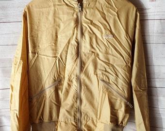 1980's Hipster Vintage Beige Le Tigre Nylon Athletic Zip Up Jacket - Large