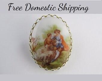 Fragonard Cameo, Fragonard Brooch, Vintage Cameo, Porcelain Cameo, Victorian Cameo, Gift for Her, Stocking Stuffer.  Free US Shipping