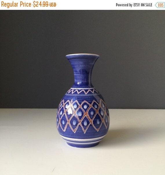 ON SALE Norwegian Blue Ceramic Vase, Vintage Scandinavian Pottery, Retro Hone Decor