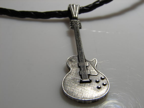 Inspired by Gibson Les Paul solid sterling silver pendant in EXTREME detail.  Electric guitar pendant.
