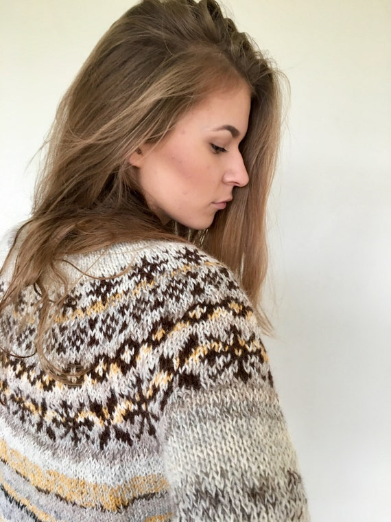 Knit sweater Icelandic sweater Fair Isle sweater Women's