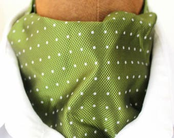 ascot,fashionable minimal  dot design,oliv green-white,silk