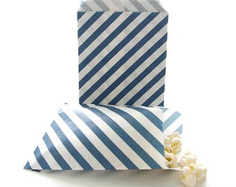 Navy Blue Paper Bags, Striped Treat Bags, Favor Gift Bag Ideas, Graduation Goody Bags, Navy Blue Stripe Bags (25 Pack)