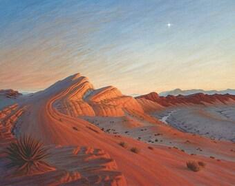 Sunset 'Venus Rising' - original Landscape Painting - oil - 30x40 - desert painting - large - impressionist - contemporary - wall art