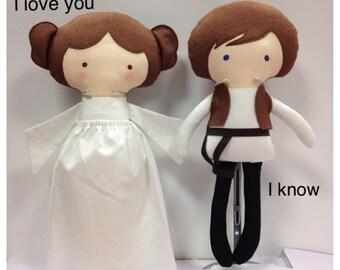Waldorf Doll • Han Solo & Princess Leia Star Wars Soft Dolls • Cloth Dolls • Rag Dolls • Star Wars •