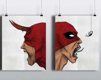 Spiderman Daredevil Macabre Diptych, 8x10 80lb satin cover stock posters, prints, marvel horror, spidey, spider man, dare devil, superheroes