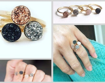 Drusy Ring 6mm Genuine Stone - Druzy Quartz Stone Ring Titanium