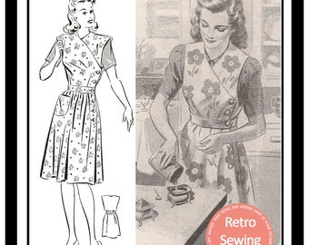 1940's Mrs Mop Overall Apron Sewing Pattern -  PDF Full Size Sewing Pattern - Instant Download