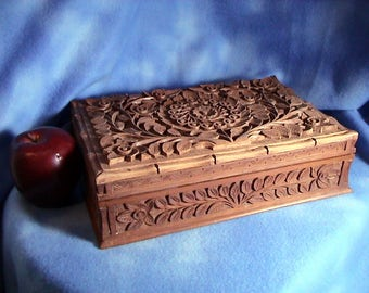Old Hand Carved Wood Box with Insert (146)