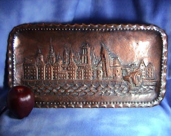 Old Solid Copper Repousse Gdańsk Wall Hanging, Free Shipping (313)