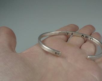 Sterling silver cuff bracelet, engraved cuff bracelet, I Love you bracelet, secret inside message, anniversary gifts