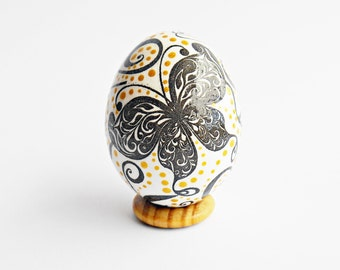 FREE SHIPPING, Handmade egg, Chicken egg shell, Easter home decorations, Easter decor, Butterfly, Pysanka, Pysanky, White, Black, Gold