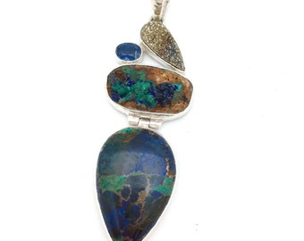 Sterling Silver and Azurite Pendant