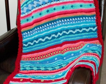Colorful Throw / Afghan / Blanket handmade in smoke free home only 1 available to keep your lap warm