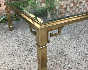Gorgeous Square Mid Century Mastercraft Brass Greek Key Beveled Glass Coffee Table