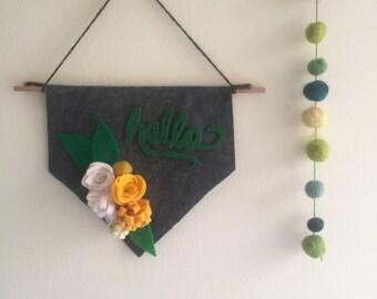 Small Handmade Hello Felt Banner, Felt Banner, Wall Decor, Nursery Banner, Nursery Wall Art, Front Door wreath, Spring Felt Banner
