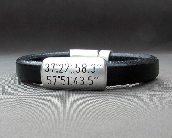 Custom Coordinates Bracelet - Personalized Latitude Longitude Leather Bracelet