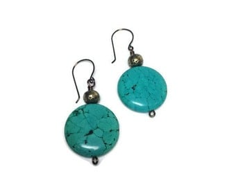 Turquoise Earrings, Dangle Earrings, Drop Earrings, Southwest Earrings, Blue Earrings, Beaded Earrings, OOAK Earrings