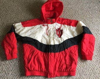 Vintage Mens Apex One All Over Print  IU Indiana Hoosiers Fluffy Winter Jacket Coat Size L