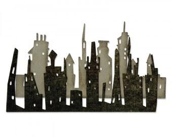 New! Sizzix Tim Holtz Thinlits Die Set 2PK - Cityscape, Skyline 661810