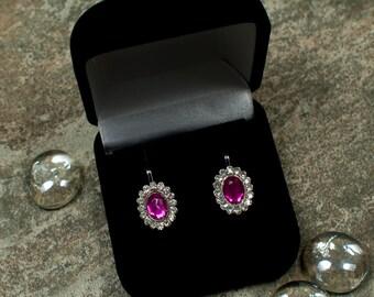 Pink clip on earrings, oval clip-on earrings, fuchsia clip on earrings, small clip on earrings