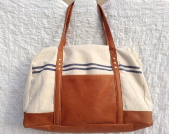WEEKEND BAG - travel leather bag - weekend bag woman - weekend bag man - bowling messenger bag - travel french cotton bag - leather