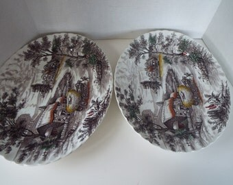 2 pieces Sears Staffordshire ironstone platters Yorkshire 1950s Sears country farm