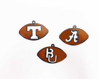 Tennessee T Baylor Alabama A Football (3) Charms made out of rusted rustic rusty recycled metal