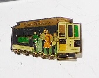 San Francisco Trolley Car Tie Tack Pin Vintage Enameled Colorful Memorabilia Collectible Travel Souvenir