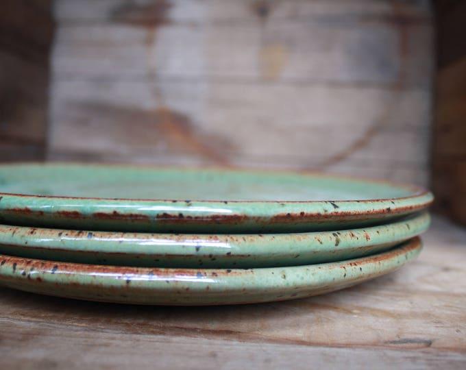Set of 4 - Dinner Plates - Speckled Green - KJ Pottery