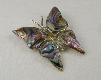 Iridescent Abalone 800 Silver Butterfly Brooch ~ Mexico