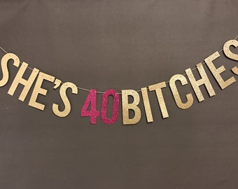 40th Birthday Decorations, 40th birthday party banner, Birthday Party Decor, 40th Birthday Party garland/ Glitter Banners